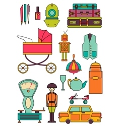set of color vintage flat icons 80-90s vector image