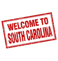 South Carolina red square grunge welcome isolated vector image