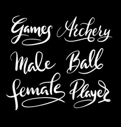 sport player hand written typography vector image