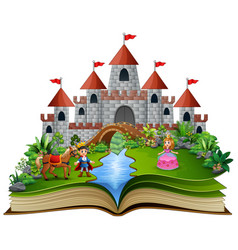 Story book with cartoon princesses and princes in vector