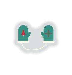 Stylish paper sticker on white background mittens vector