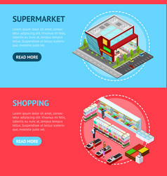 supermarket building and element banner horizontal vector image