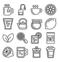 tea icons set on white background line style vector image