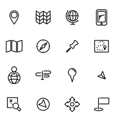 thin line icons - map vector image