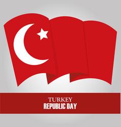 Turkey republic day waving national flag gray vector