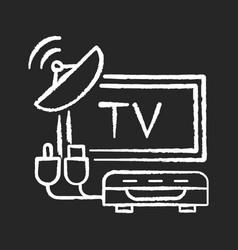 Tv tuner chalk white icon on black background vector