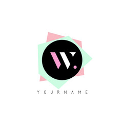 w geometric shapes logo design with pastel colors vector image