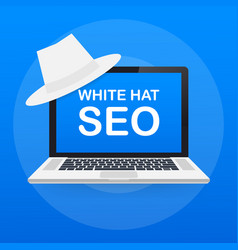 white hat seo banner magnifier and other search vector image