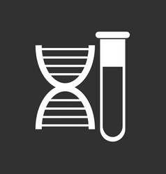 White icon on black background dna with test tube vector