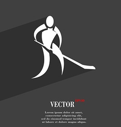 Winter sport Hockey symbol Flat modern web design vector image