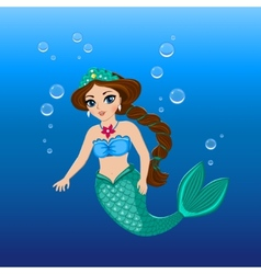 a cute mermaid girl under the sea vector image