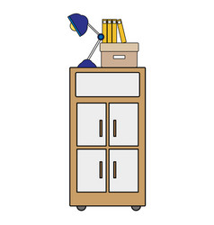colorful cabinet archive with books and lamp desk vector image