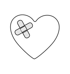 monochrome silhouette of heart with adhesive vector image