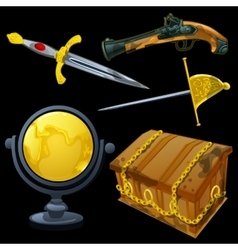 Set of ancient weapons and golden globe vector image