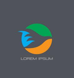 circle bird silhouette logo vector image