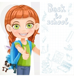 Cute little girl student with a big banner vector image vector image