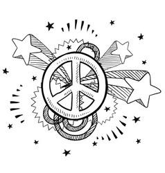 doodle pop peace vector image vector image