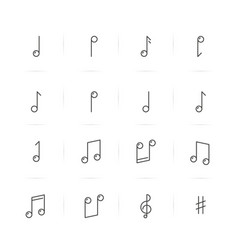 icons set of music notes in thin line style vector image