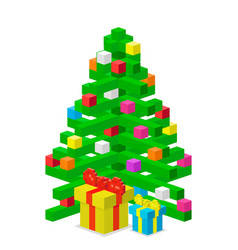 pine tree pixel green christmas holiday vector image