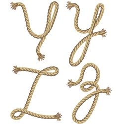 Rope alphabet font style vector image