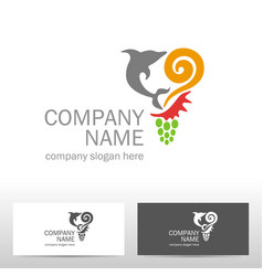 travel logo design with dolphin vector image vector image