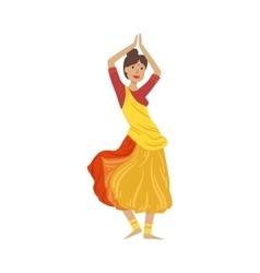 Woman in sari dancing national indian dance vector