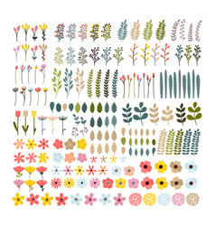 big floral set colorful collection with branches vector image vector image