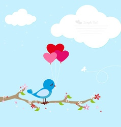 Blue bird with balloons vector image vector image