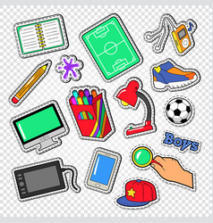 boys doodle with football computer and telephone vector image vector image