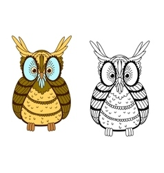 Cartoon colorful and outline eagle owl vector image vector image