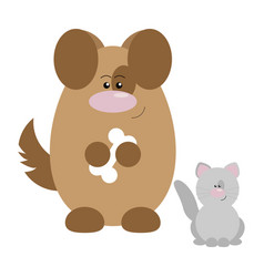 Dog and cat happy vector
