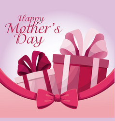 greeting happy mothers day gift present ribbon vector image vector image