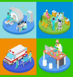 isometric medical clinic health care concept vector image