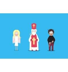 Saint nicholas with angel and devil cartoon vector