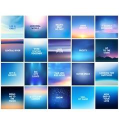 BIG set of 20 square blurred nature dark blue vector image vector image