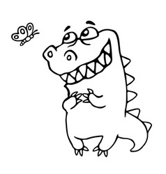 friendly dragon enjoy the butterfly vector image vector image