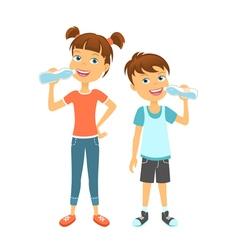 Happy children drinking water vector image vector image