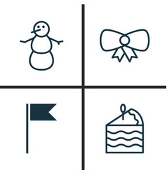 holiday icons set collection of winter cake vector image