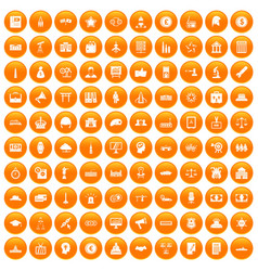 100 government icons set orange vector