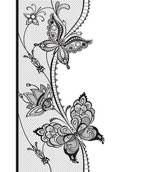 Abstract lace with elements of butterflies and vector
