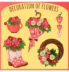 Accessories and decorative objects with flowers vector image