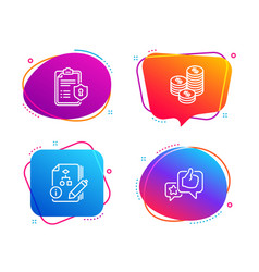 Algorithm coins and privacy policy icons set vector