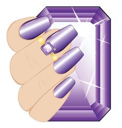 amethyst ring on a hand vector image