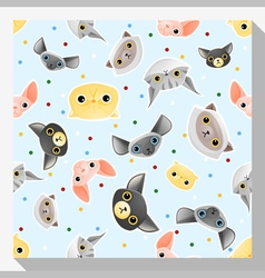 Animal seamless pattern collection with cat 2 vector image