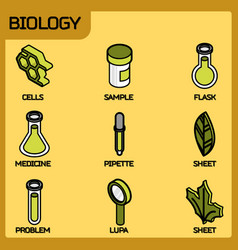 biology color outline isometric icons vector image
