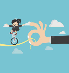 business woman riding on the bike on risk vector image