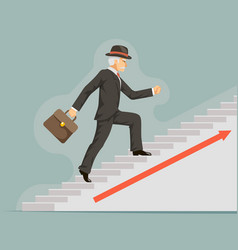 businessman gentleman adult goes success ladder vector image