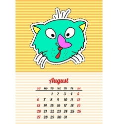 Calendar 2017 with cats August In cartoon 80s vector image