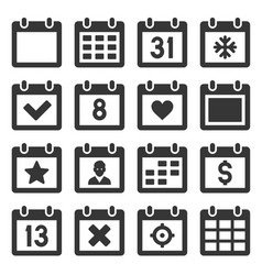 calendar icons set on white background vector image