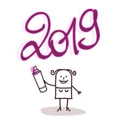 cartoon woman writing a 2019 pink purple sign vector image